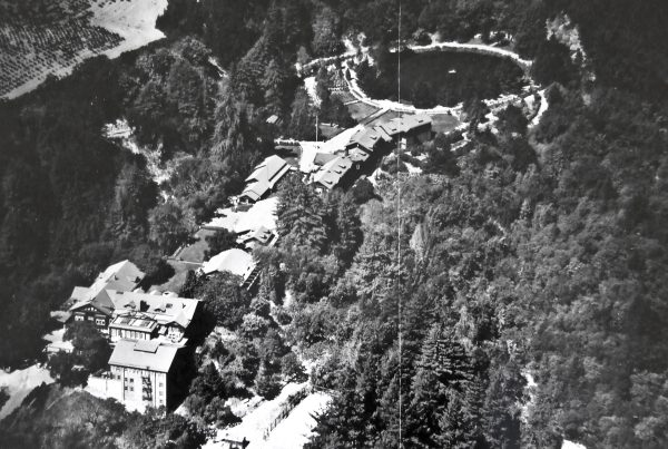 Aerial view of Alma College (California Jesuit Archives, Santa Clara. Alma College File.)